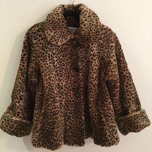 Vintage Faux Fur Leopard  Swing Coat